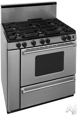 Premier Pro Series P36B3282PS 36 Inch Gas Range with 6 Sealed Burners, Continuous Cast Iron Grates, Griddle, Battery Ignition, Stainless Steel Backguard, Stainless Steel Commercial Handles, 2 Oven Rac