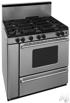 Premier Pro Series P36S3282PS 36 Inch Gas Range with 6 Sealed Burners, Continuous Cast Iron Grates, Griddle, Electronic Ignition, Stainless Steel Backguard, Stainless Steel Commercial Handles, 2 Oven