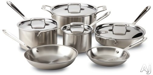 Image of All Clad BD5005710R 10-Piece d5 Brushed Stainless Steel Cookware Set with 5-Ply Stainless Steel, Polished Surface, Stainless Steel Handles, Induction Suitable, Oven Safe, Dishwasher Safe, Limited Lifetime Warranty and Made in USA
