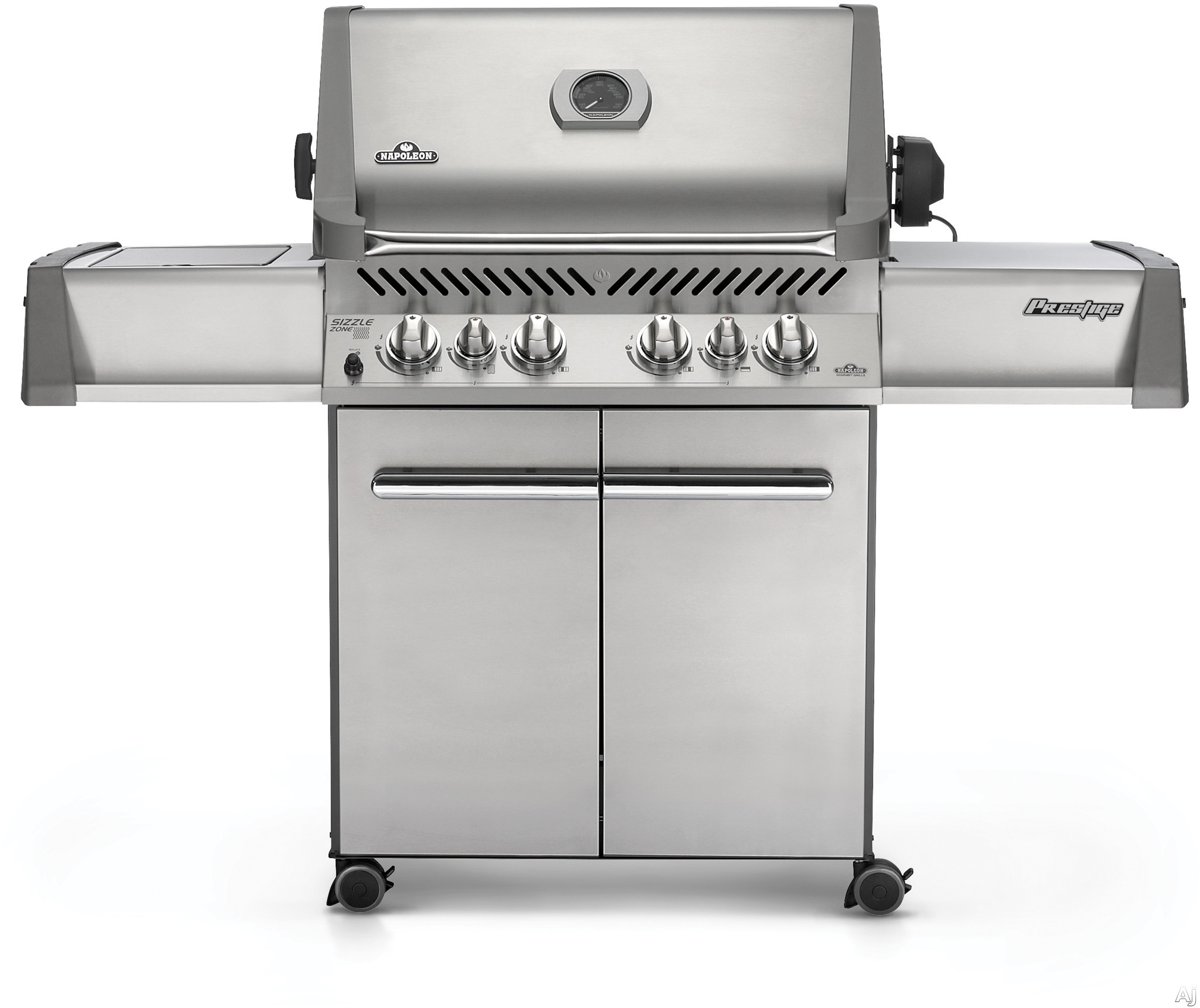 Napoleon 500 Series P500RSIBPSS1 64 Inch Freestanding Gas Grill with 80 000 Total BTUs 900 sq in Cooking Space JETFIRE Ignition 6 Burners incl 2 Infrared Burners Rotisserie and Heavy Duty Casters Liquid Propane Stainless Steel