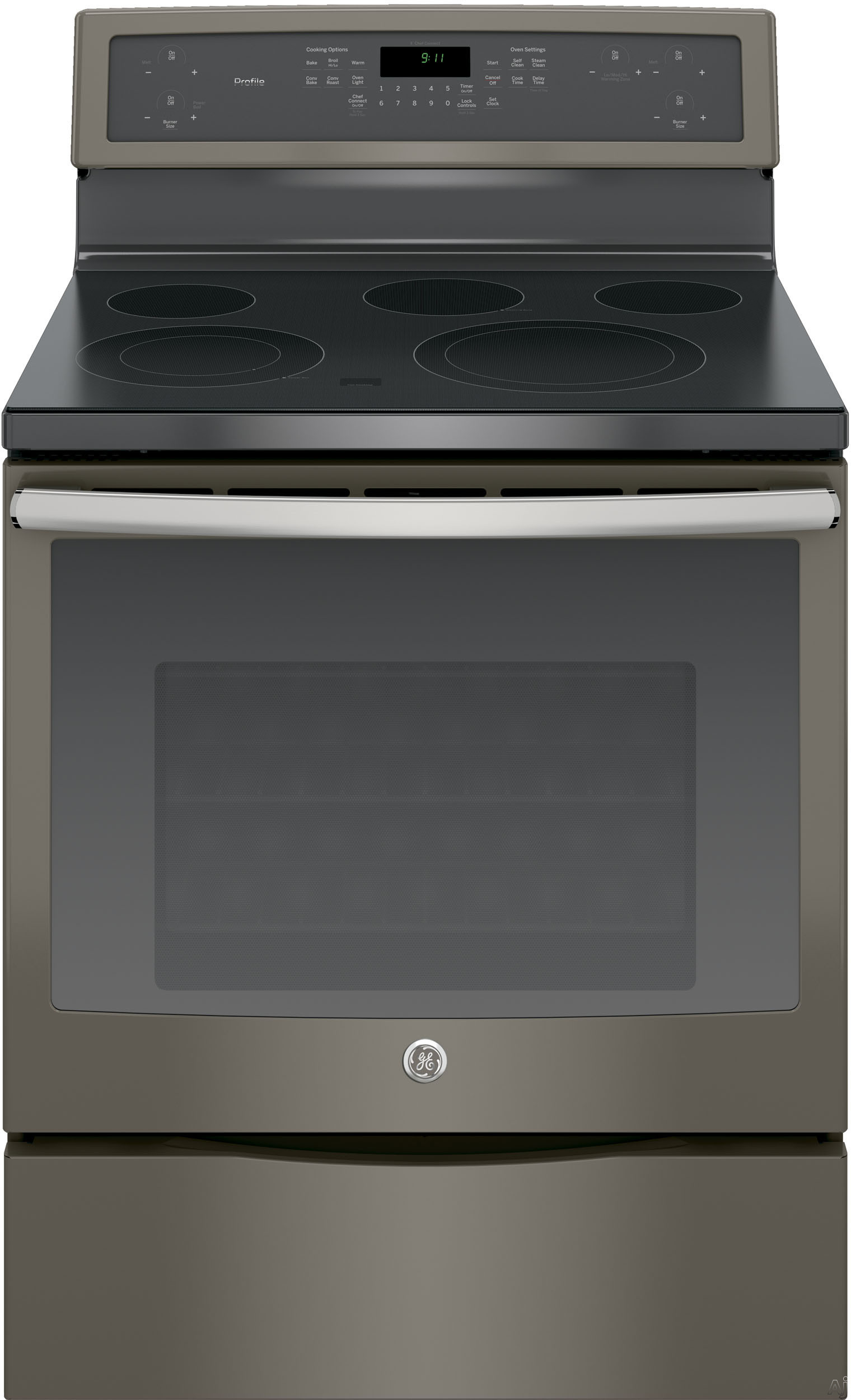 GE Profile PB911EJES 30 Inch Freestanding Electric Range with True Convection, Chef Connect, Fast Preheat, Power Boil Element, Variable Element, Warming Zone, Storage Drawer, Steam Self-Clean, 5 Smoot