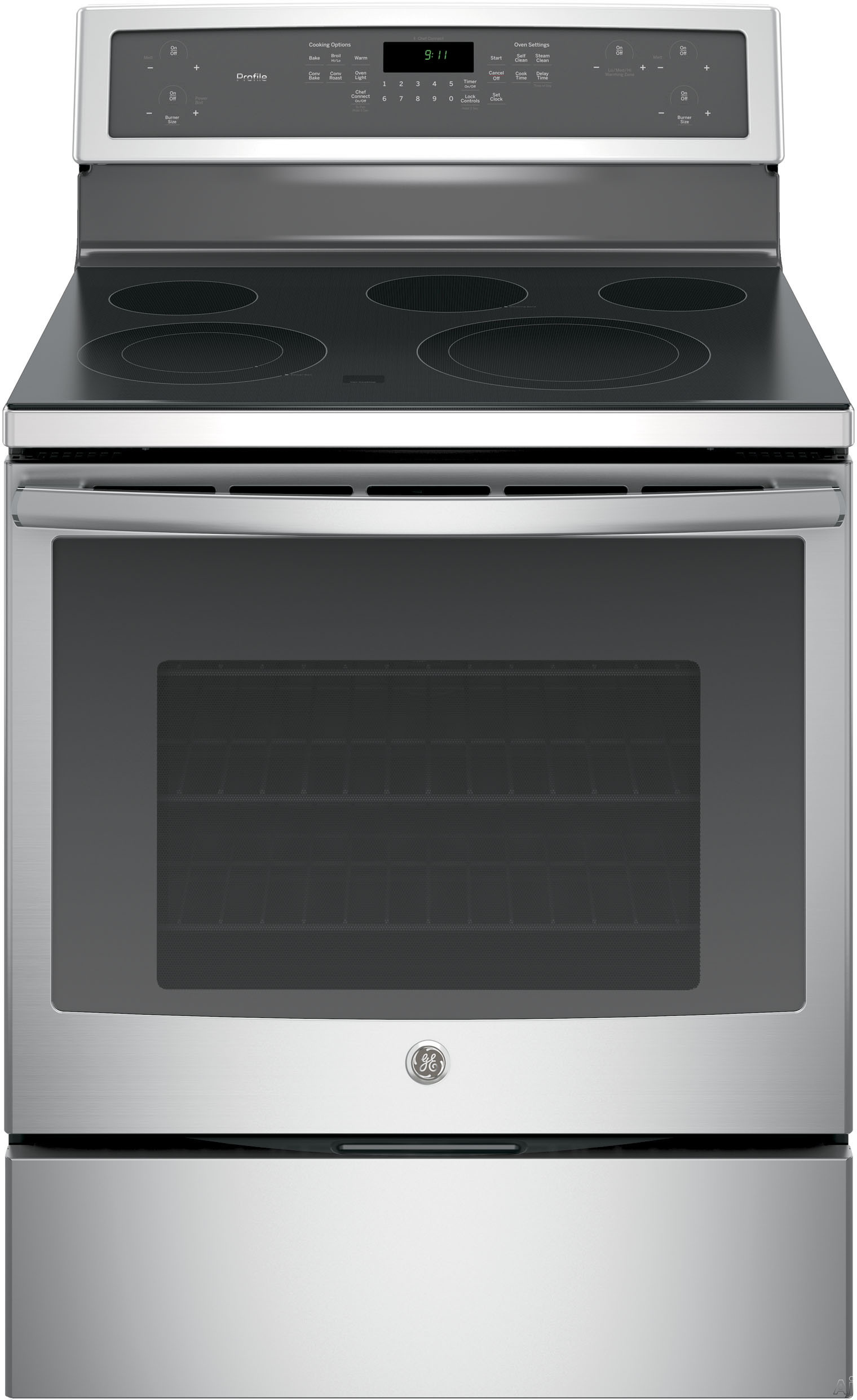 GE Profile PB911SJSS 30 Inch Freestanding Electric Range with True Convection, Chef Connect, Fast Preheat, Power Boil Element, Variable Element, Warming Zone, Storage Drawer, Steam Self-Clean, 5 Smoot
