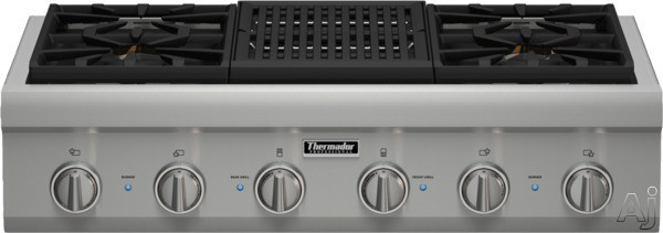 "Thermador Professional Series PCG364NL 36"" Pro-Style Gas Rangetop with 4 Pedestal Star Burners, Griddle or Grill Option, Metal Knobs, Precision Simmering and Island Trim: Grill"