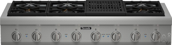 Thermador Professional Series PCG486NL 48 Inch Pro-Style Gas Rangetop with 6 Pedestal Star Burners, Griddle or Grill Option, Metal Knobs, Precision Simmering and Island Trim: Grill