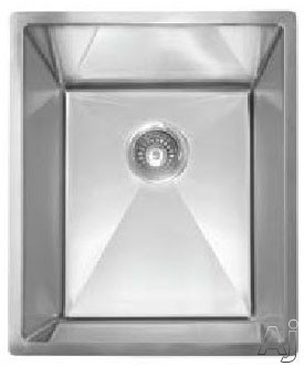 Franke Planar Series PEX11014 15 Inch Undermount Single Bowl Stainless Steel Sink with 9 1/2 Inch Bowl Depth, 18-Gauge, 8mm Corner Radius, Anti-Noise Insulation and Strainer Basket Included