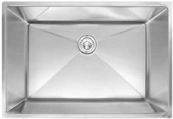 Franke Planar Series PEX11028 29 Inch Undermount Single Bowl Stainless Steel Sink with 9 1/2 Inch Bowl Depth, 18-Gauge, 8mm Corner Radius, Anti-Noise Insulation