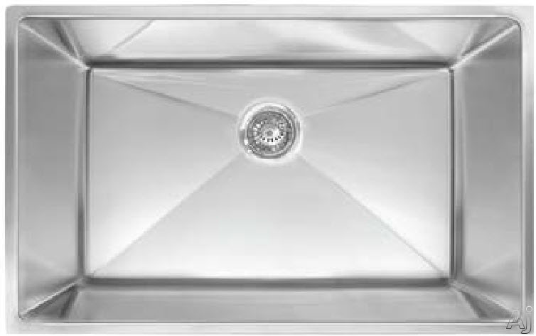 Franke Planar Series PEX11031 32 Inch Undermount Single Bowl Stainless Steel Sink with 9 1/2 Inch Bowl Depth, 18-Gauge, 8mm Corner Radius, Anti-Noise Insulation and Strainer Basket Included