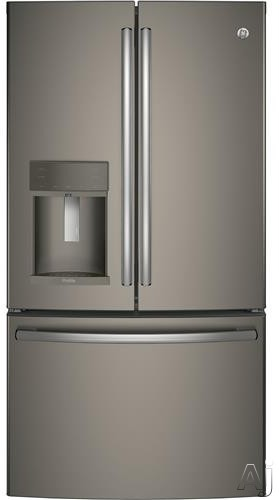 GE Profile PFE28KMKES 36 Inch French Door Refrigerator with Temperature-Controlled Drawer, Turbo Cool Setting, Autofill External Dispenser, 27.8 cu. ft. Capacity, Adjustable Spill-Proof Shelving, Sabbath Mode, ADA Compliant and ENERGY STAR®: Slate