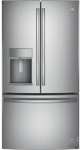 GE Profile PFE28K 36 Inch French Door Refrigerator with 27.8 cu. ft. Capacity, Adjustable Spill-Proof Shelving, Temperature-Controlled Drawer, Turbo Cool Setting, Ice and Water Dispenser with Hands-Free Autofill, Sabbath Mode, ADA Compliant and ENERGY ST