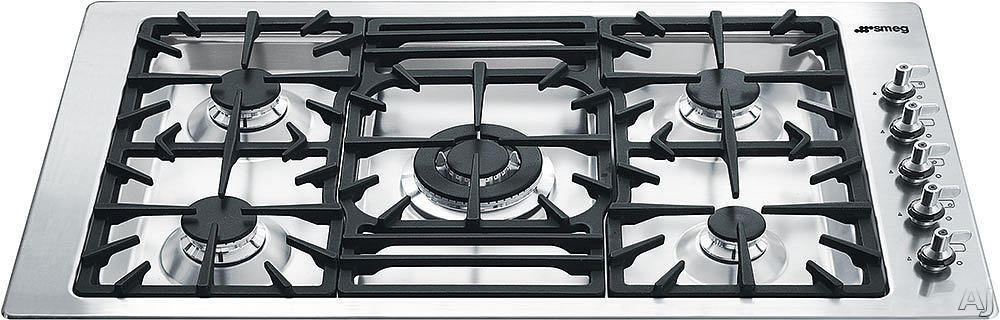 Smeg Classic Design PGFU36X 36 Inch Gas Cooktop with 5 Sealed Burners, 13700 BTU Super Burner, Continuous Cast Iron Grates, LP Gas Conversion Kit, Ergonomic Side Control Knobs and Automatic Electronic Ignition