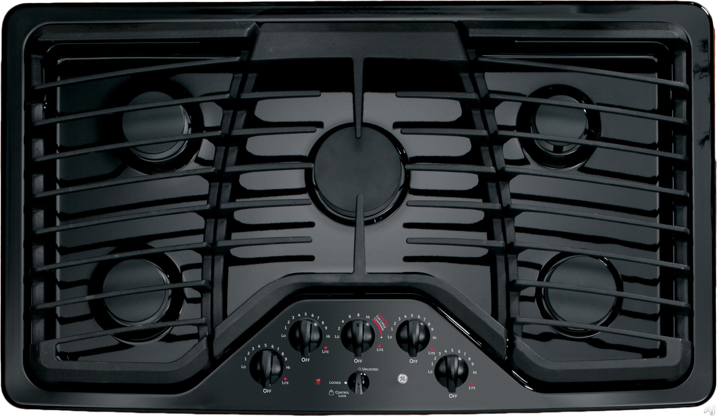 GE Profile PGP976DETBB 36 Inch Gas Cooktop with 5 Sealed Burners, 17,000 BTU PowerBoil, Precise Simmer Burner, Heavy Cast Grates, Child Lock, LED Backlit Knobs, GE Fits! Guarantee and ADA Compliant: Black