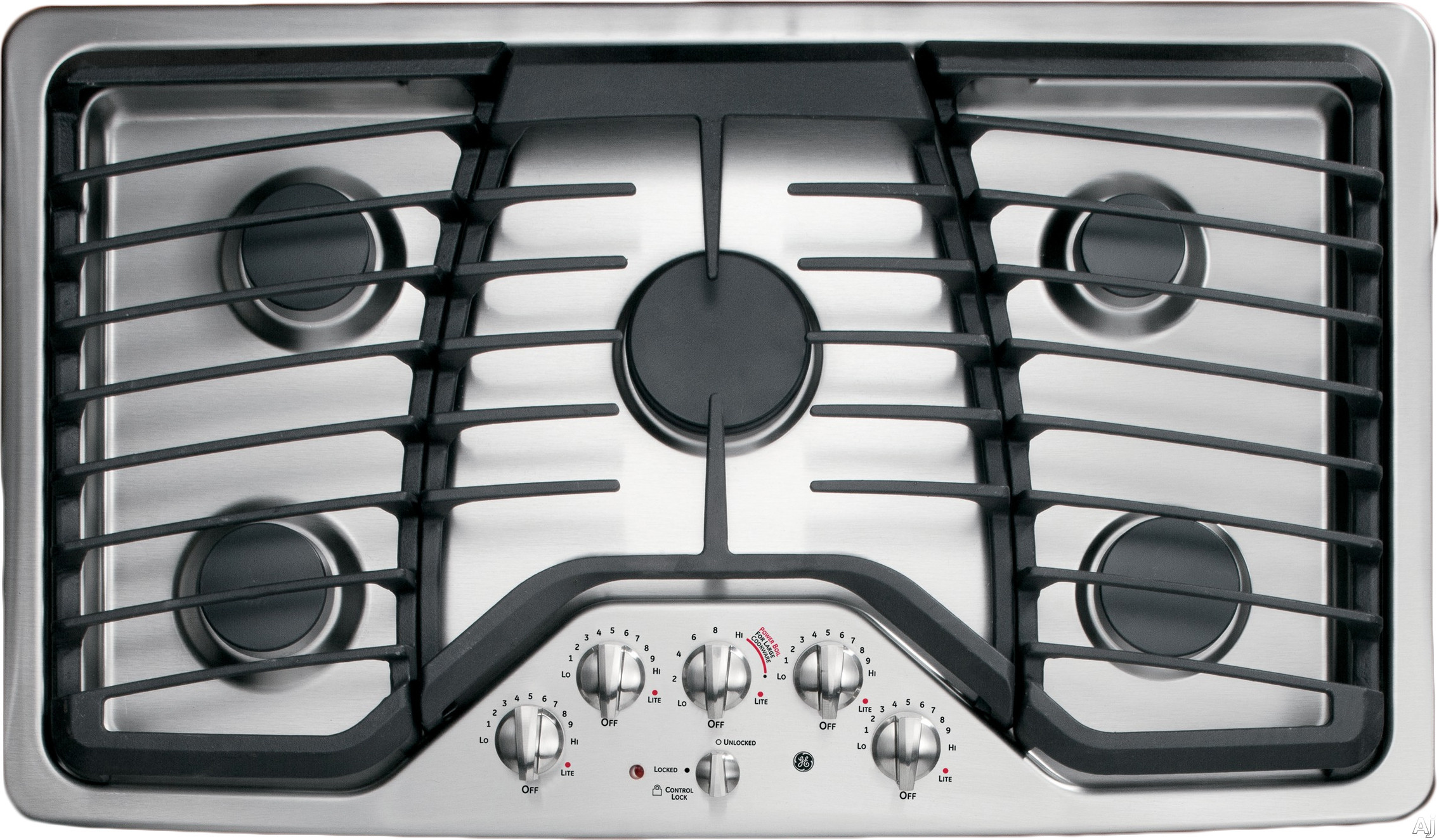 """GE Profile PGP976SETSS 36"""" Gas Cooktop with 5 Sealed Burners, 17,000 BTU PowerBoil, Precise Simmer Burner, Heavy Cast Grates, Child Lock and LED Backlit Knobs: Stainless Steel"""