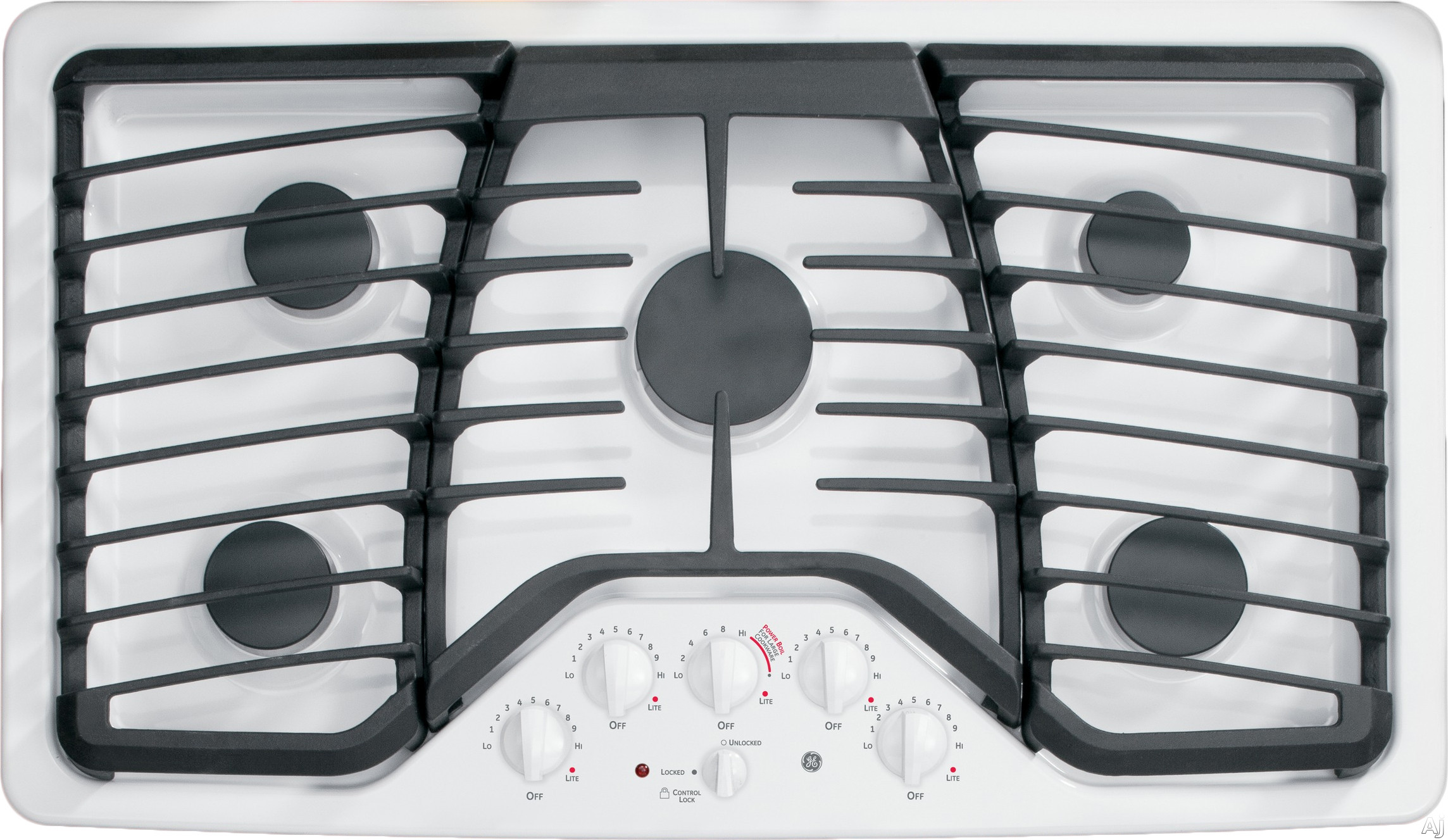 GE Profile PGP976DETWW 36 Inch Gas Cooktop with 5 Sealed Burners, 17,000 BTU PowerBoil, Precise Simmer Burner, Heavy Cast Grates, Child Lock, LED Backlit Knobs, GE Fits! Guarantee and ADA Compliant: White