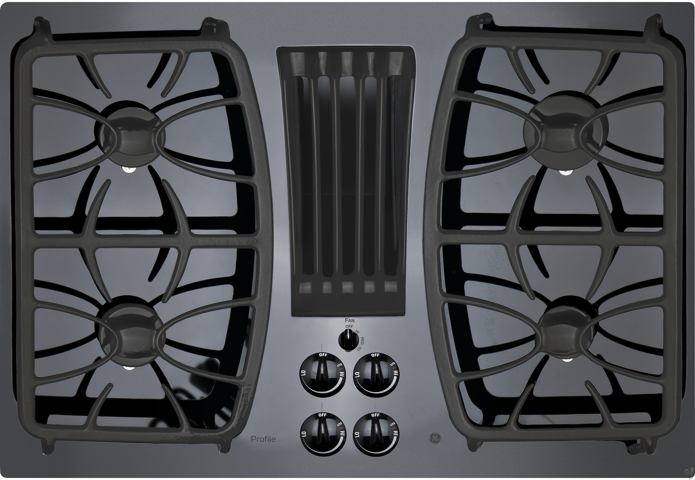 GE Profile PGP9830DJBB 30 Inch Gas Cooktop with 4 Sealed Burners, Downdraft Exhaust System, Glass-Cooktop Finish and Dishwasher-Safe Grates, Control Knobs, GE Fits! Guarantee and ADA Compliant: Black