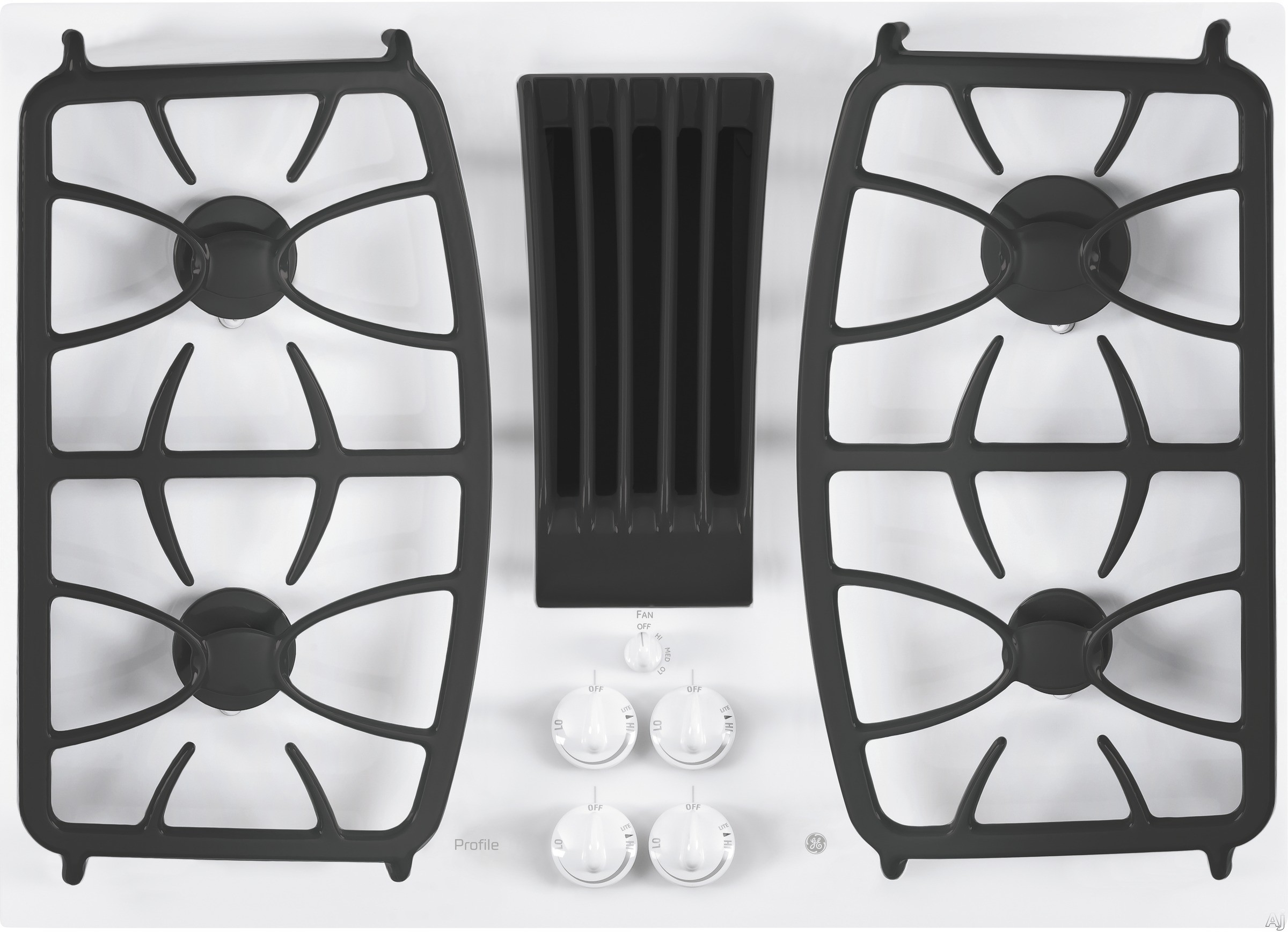 GE Profile PGP9830TJWW 30 Inch Gas Cooktop with 4 Sealed Burners, Downdraft Exhaust System, Glass-Cooktop Finish and Dishwasher-Safe Grates, Control Knobs, GE Fits! Guarantee and ADA Compliant: White