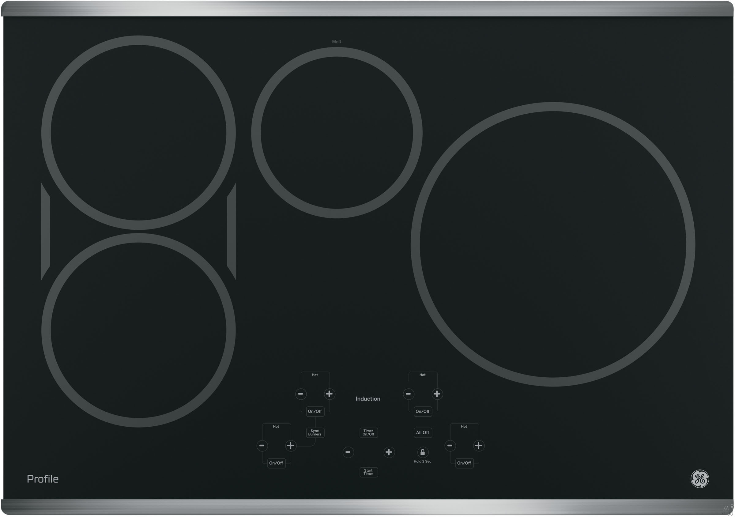 GE Profile PHP9030SJSS 30 Inch Induction Cooktop with 4 Cooking Zones, SyncBurners, Digital Red LED Touch Controls, Kitchen Timer, Control Lock, All-Off Feature, Hot Surface Indicator Light, ADA Compliant and GE Fits! Guarantee: Stainless Steel