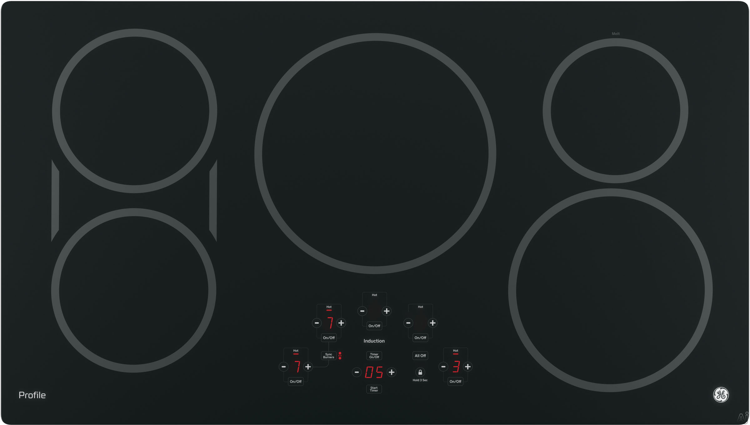 GE Profile PHP9036DJBB 36 Inch Induction Cooktop with 5 Induction Elements, 3,700-Watt Element, Pan Size Sensors, SyncBurners, Red LED Display, Kitchen Timer, ADA Compliant and GE Fits! Guarantee: Bla