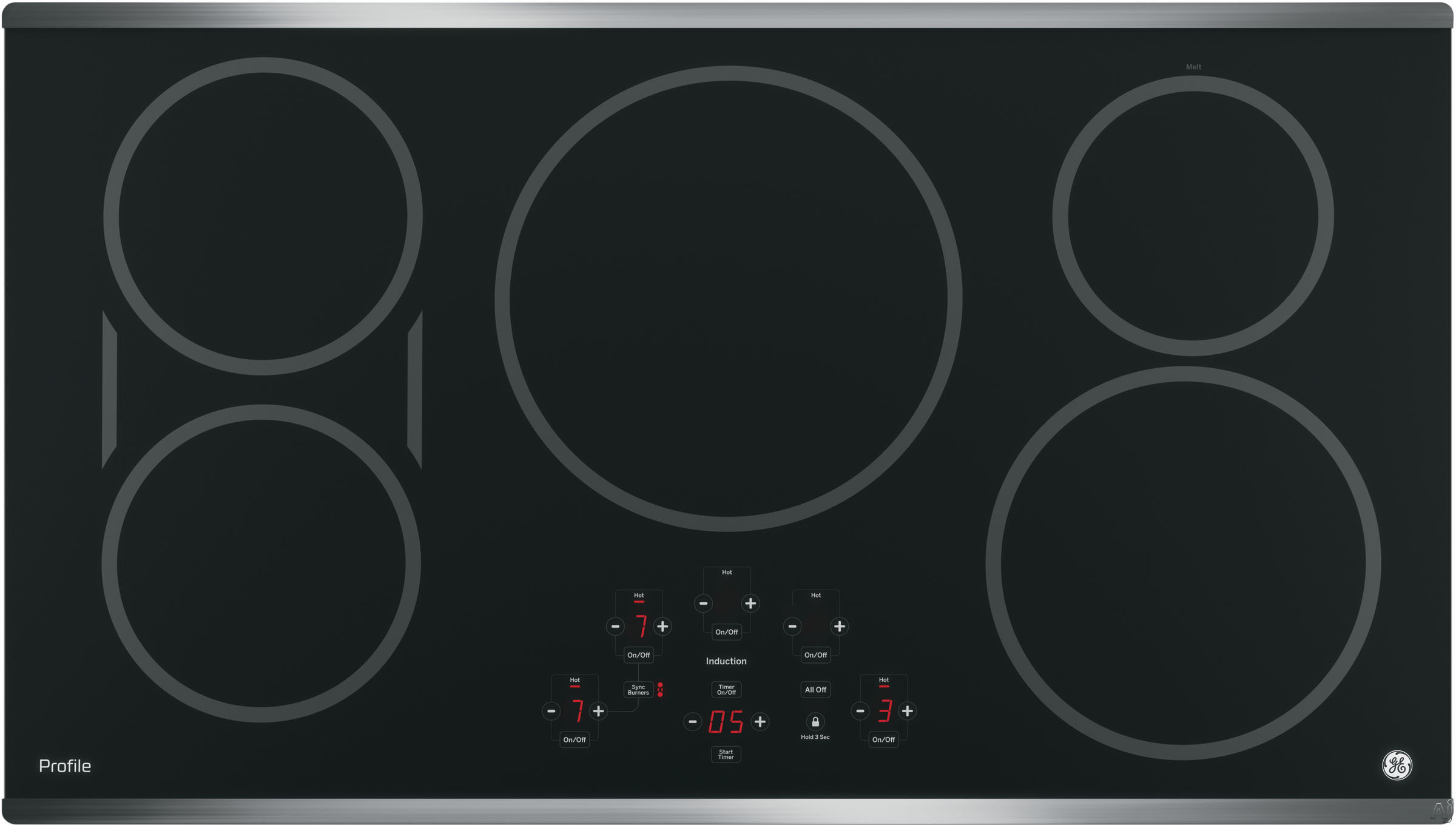 GE Profile PHP9036SJSS 36 Inch Induction Cooktop with 5 Induction Elements, 3,700-Watt Element, Pan Size Sensors, SyncBurners, Red LED Display, Kitchen Timer, ADA Compliant and GE Fits! Guarantee: Sta