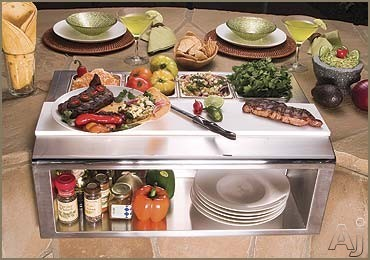 Alfresco APS30P Built-in Garnish Rail and Plate Shelf with Food Pans