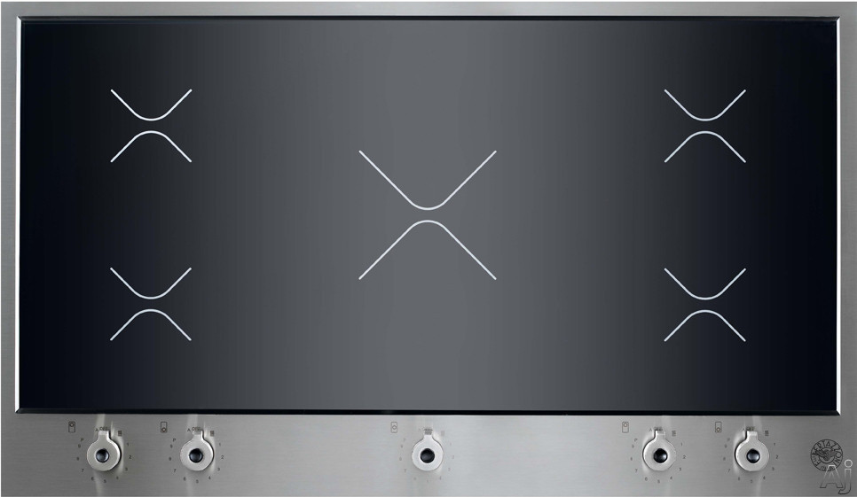 Bertazzoni Design Series PM360IGX 36 Inch Induction Cooktop with 5 Heating Zones, Black Ceramic Glass Top, Stainless Steel Frame and Knob Controls