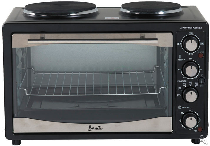 Avanti POB11A1B 1.1 cu. ft. Countertop Oven with 2 Hotplate Burners Convection Baking Conventional Bake Conventional Broil Toast 60 Minute Timer and Full Temperature Control