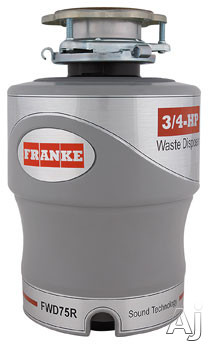 Franke FWD75R 3/4 HP Continuous Feed Waste Disposer with 2700 RPM Magnet Motor, Jam Resistant, 10 Year Warranty and Air Switch Included