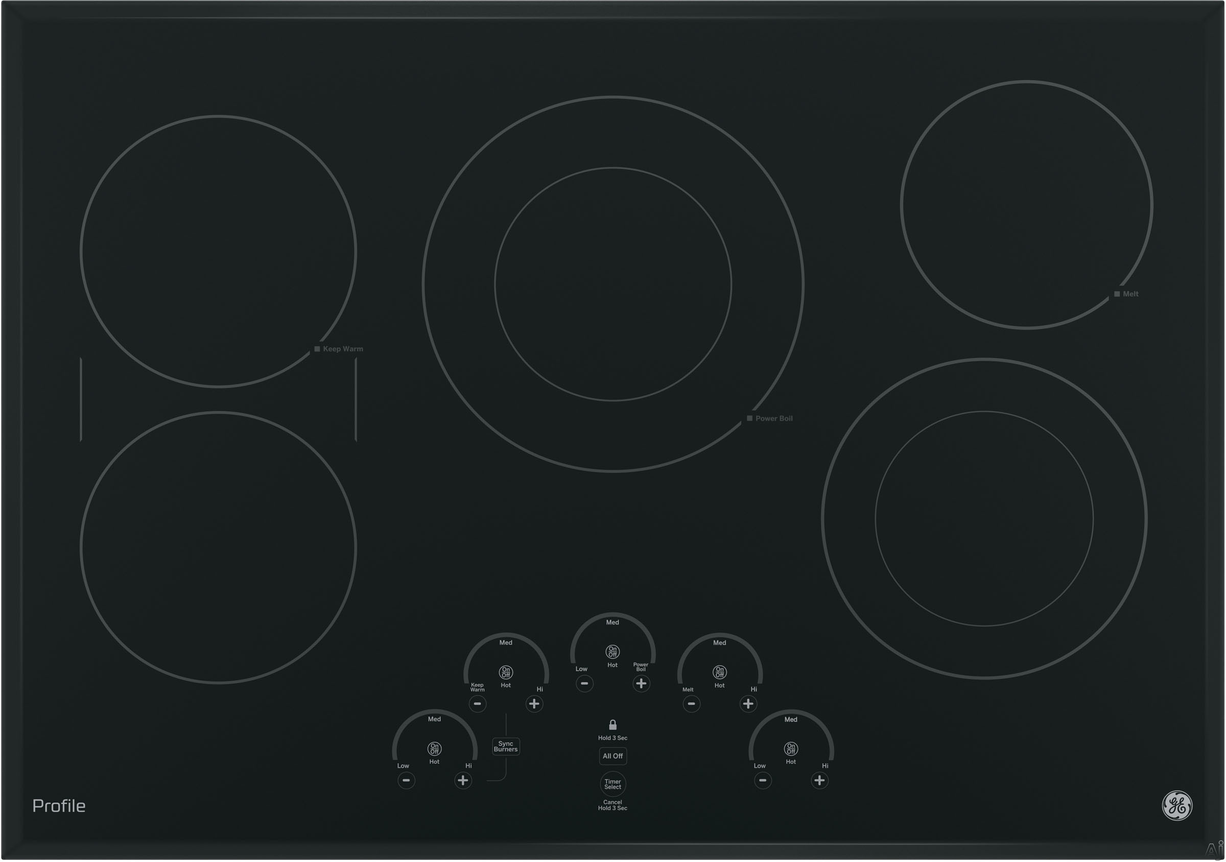 GE Profile PP9030DJBB 30 Inch Smoothtop Electric Cooktop with 5 Radiant Elements, Left-Side Bridge SyncBurners, Glide Touch Controls, Multi-Element Timers, Melt/Keep Warm Setting, ADA Compliant and GE