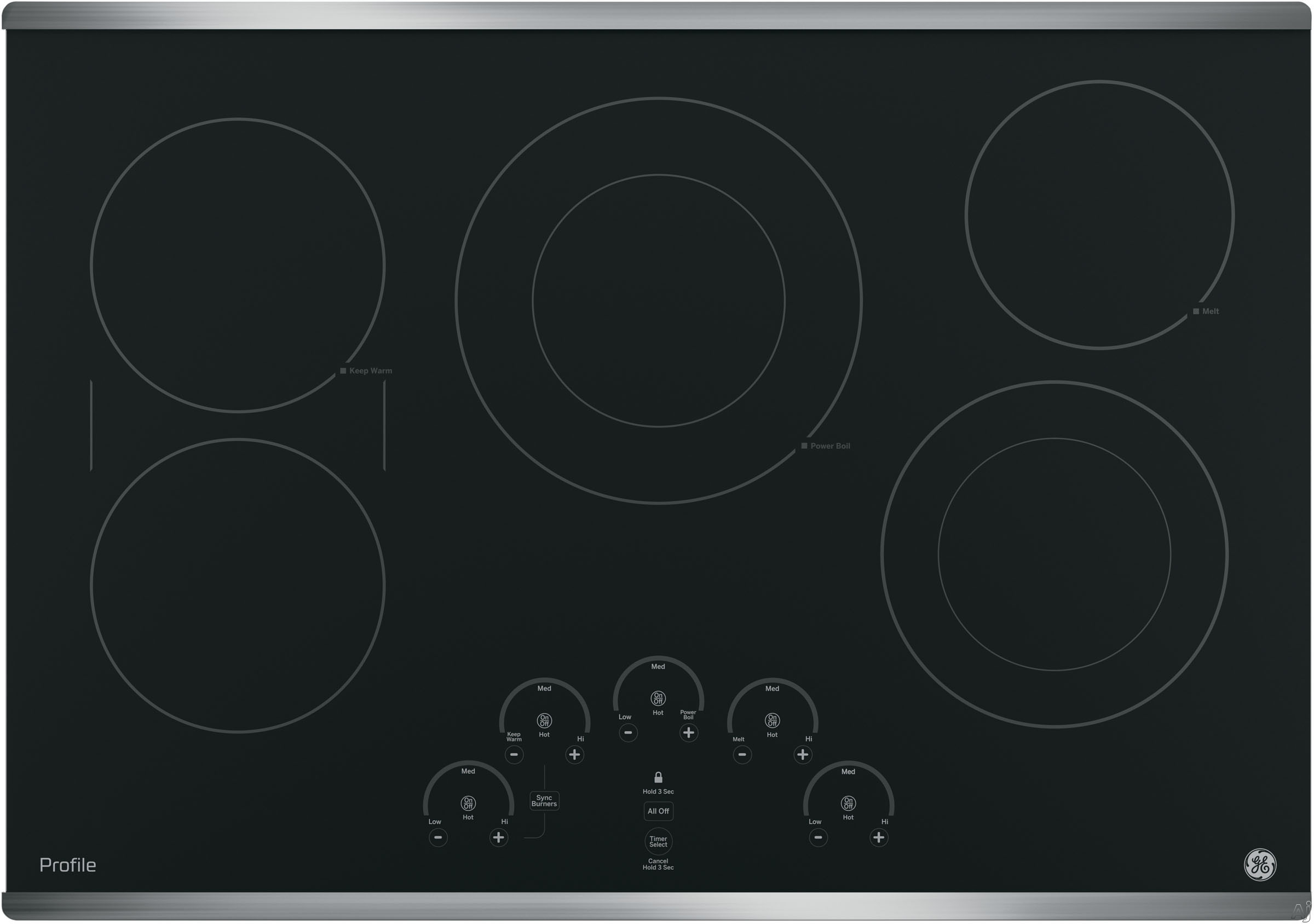 GE Profile PP9030SJSS 30 Inch Smoothtop Electric Cooktop with 5 Radiant Elements, Left-Side Bridge SyncBurners, Glide Touch Controls, Multi-Element Timers, Melt/Keep Warm Setting, ADA Compliant and GE