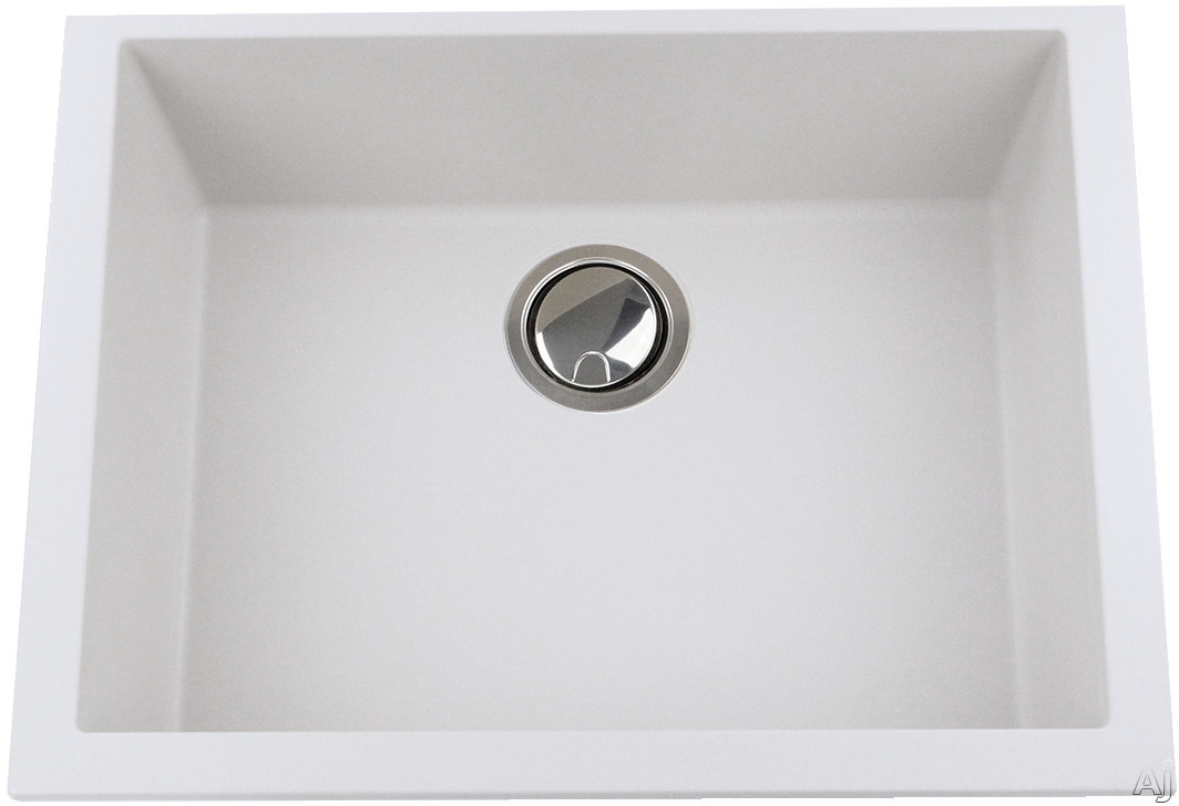 Nantucket Sinks Plymouth Collection PR2418W 24 Inch Single Bowl Undermount Kitchen Sink with Premium Granite Composite, Sound Absorbing and Scratch Resistant: White