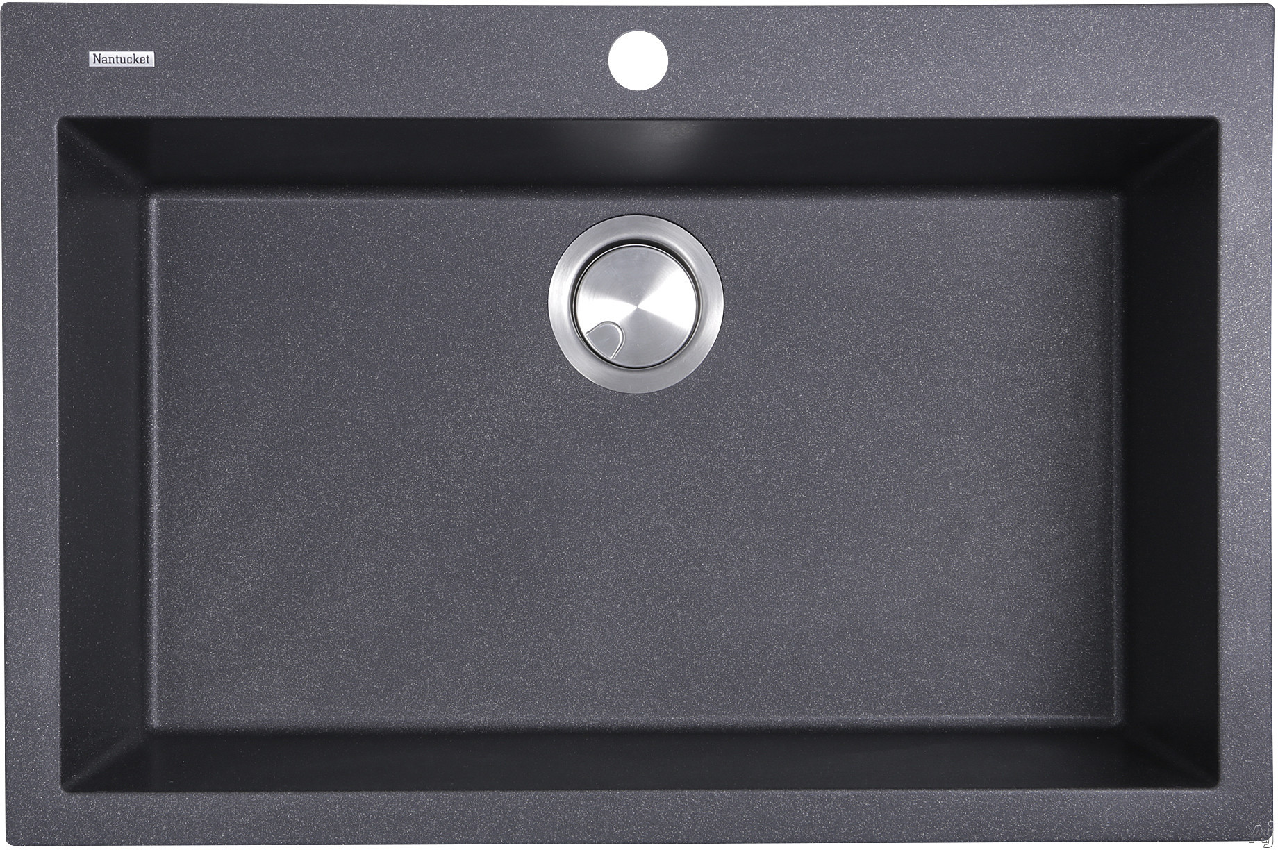 Nantucket Sinks Plymouth Collection PR3020DMBL 30 Inch Dual Mount Granite Composite Kitchen Sink with Dual Mount Design, Heat Resistant and Scratch Resistant: Matte Black