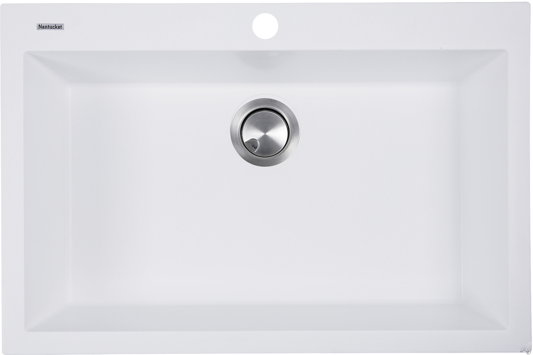 Nantucket Sinks Plymouth Collection PR3020DMW 30 Inch Dual Mount Granite Composite Kitchen Sink with Dual Mount Design, Heat Resistant and Scratch Resistant: Matte White