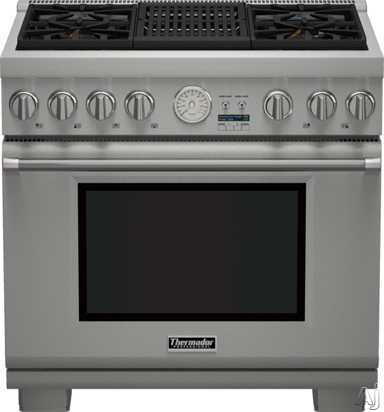 Thermador Pro Grand Professional Series PRD364NLGU 36 Inch Pro-Style Dual Fuel Range with 4 Sealed Star Burners, 5.7 cu. ft. Convection Oven, Electric Grill, 22,000 BTU Power Burner, ExtraLow Simmer Burners, Star-K Certified Sabbath Mode, Telescopic Rack