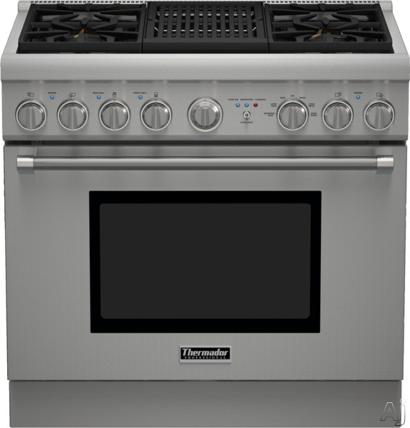 Thermador Pro Harmony Professional Series PRD364NLHU 36 Inch Pro-Style Dual Fuel Range with 4 Sealed Star Burners, 4.8 cu. ft. Convection Oven, Electric Grill, ExtraLow Simmer Burners, Telescopic Rack