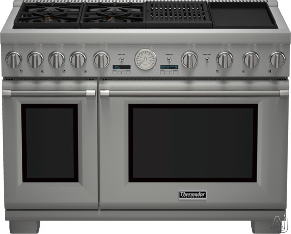 Thermador Pro Grand Professional Series PRD484NCGU 48 Inch Pro-Style Dual Fuel Range with 4 Sealed Star Burners, 8.2 Total cu. ft. Convection Ovens, Electric Grill, Griddle, ExtraLow Simmer Burners, T