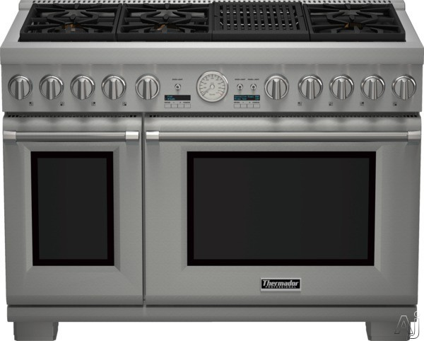 Thermador Pro Grand Professional Series PRD486NLGU 48 Inch Pro-Style Dual Fuel Range with 6 Sealed Star Burners, 8.2 Total cu. ft. Convection Ovens, Electric Grill, 22,000 BTU Power Burner, ExtraLow S