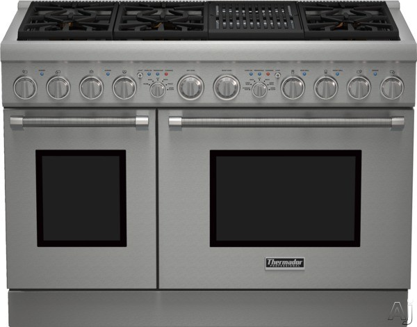 Thermador Pro Harmony Professional Series PRD486NLHU 48 Inch Pro-Style Dual Fuel Range with 6 Sealed Star Burners, 6.5 Total cu. ft. Convection Ovens, Electric Grill, ExtraLow Simmer Burners, Telescop
