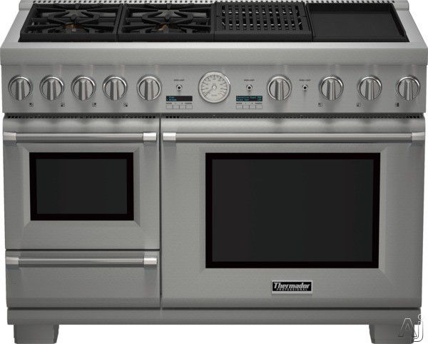 Thermador Pro Grand Steam Professional Series PRD48NCSGU 48 Inch Pro-Style Dual Fuel Range with 4 Sealed Star Burners, 5.1 cu. ft. Convection Oven, 1.4 cu. ft. Steam Oven, Electric Grill, Griddle, Ext