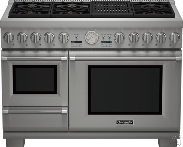 Thermador Pro Grand Steam Professional Series PRD48NLSGU 48 Inch Pro-Style Dual Fuel Range with 6 Sealed Star Burners, 5.1 cu. ft. Convection Oven, 1.4 cu. ft. Steam Oven, Electric Grill, 22,000 BTU P