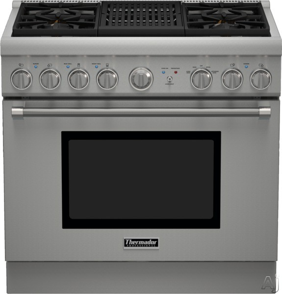 Thermador Pro Harmony Professional Series PRX364NLH 36 Inch Pro-Style Gas Range with 4 Sealed Star Burners, 5.0 cu. ft. Convection Oven, Electric Grill, ExtraLow Simmer Burners, Telescopic Racks and Star-K Certified