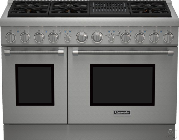 Thermador Pro Harmony Professional Series PRX486NLH 48 Inch Pro-Style Gas Range with 6 Sealed Star Burners, 7.0 Total cu. ft. Convection Ovens, Electric Grill, ExtraLow Simmer Burners, Telescopic Racks, and Star-K Certified