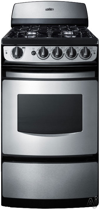 Summit PRO200SS 20 Inch Freestanding Gas Range with 4 Open Burners, 2.4 cu. ft. Oven, 2 Oven Racks, Drop-Down Broiler Compartment, Electronic Ignition, Backguard, ADA Compliance, Manual Clean and Liqu