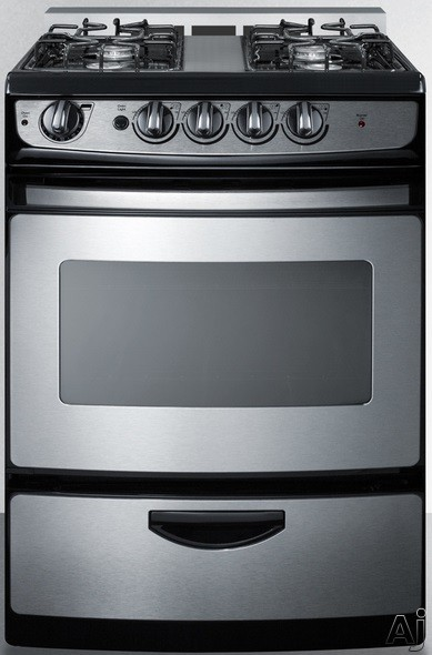 Summit White Pearl Series PRO246SSRT 24 Inch Slide-In Gas Range with 3.0 cu. ft. Oven Capacity, 4 Open Burners, Continuous Grates, 2 Oven Racks, Push-to-Turn Control Knobs and Drop-Down Broiler Compar