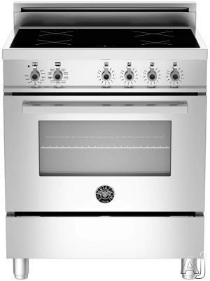 "Bertazzoni Professional Series PRO304INMXE 30"" Freestanding Electric Range with 4 Induction Burners, European Convection Cooking, Glass Door, Stainless Steel Backguard, Storage Drawer and Flush Installation: Stainless Steel, Manual Clean, Standard Oven R"