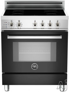 "Bertazzoni Professional Series PRO304INSNE 30"" Freestanding Electric Range with 4 Induction Burners, European Convection Cooking, Glass Door, Stainless Steel Backguard, Telescopic Glide Rack, Storage Drawer and Flush Installation: Nero Black, Self Clean,"