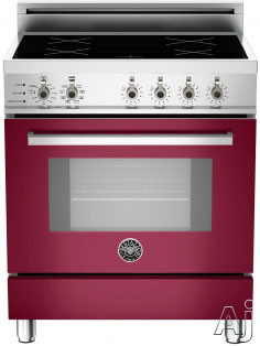 "Bertazzoni Professional Series PRO304INSVI 30"" Freestanding Electric Range with 4 Induction Burners, European Convection Cooking, Glass Door, Stainless Steel Backguard, Telescopic Glide Rack, Storage Drawer and Flush Installation: Vino Burgundy, Self Cle"