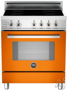 "Bertazzoni Professional Series PRO304INSAR 30"" Freestanding Electric Range with 4 Induction Burners, European Convection Cooking, Glass Door, Stainless Steel Backguard, Telescopic Glide Rack, Storage Drawer and Flush Installation: Arancio Orange, Self Cl"