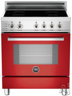 "Bertazzoni Professional Series PRO304INSRO 30"" Freestanding Electric Range with 4 Induction Burners, European Convection Cooking, Glass Door, Stainless Steel Backguard, Telescopic Glide Rack, Storage Drawer and Flush Installation: Rosso Red, Self Clean,"