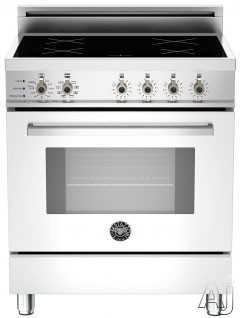 "Bertazzoni Professional Series PRO304INSBI 30"" Freestanding Electric Range with 4 Induction Burners, European Convection Cooking, Glass Door, Stainless Steel Backguard, Telescopic Glide Rack, Storage Drawer and Flush Installation: Bianco Pure White, Self"