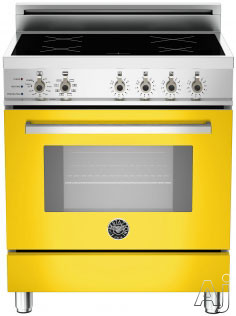 "Bertazzoni Professional Series PRO304INSGI 30"" Freestanding Electric Range with 4 Induction Burners, European Convection Cooking, Glass Door, Stainless Steel Backguard, Telescopic Glide Rack, Storage Drawer and Flush Installation: Giallo Yellow, Self Cle"