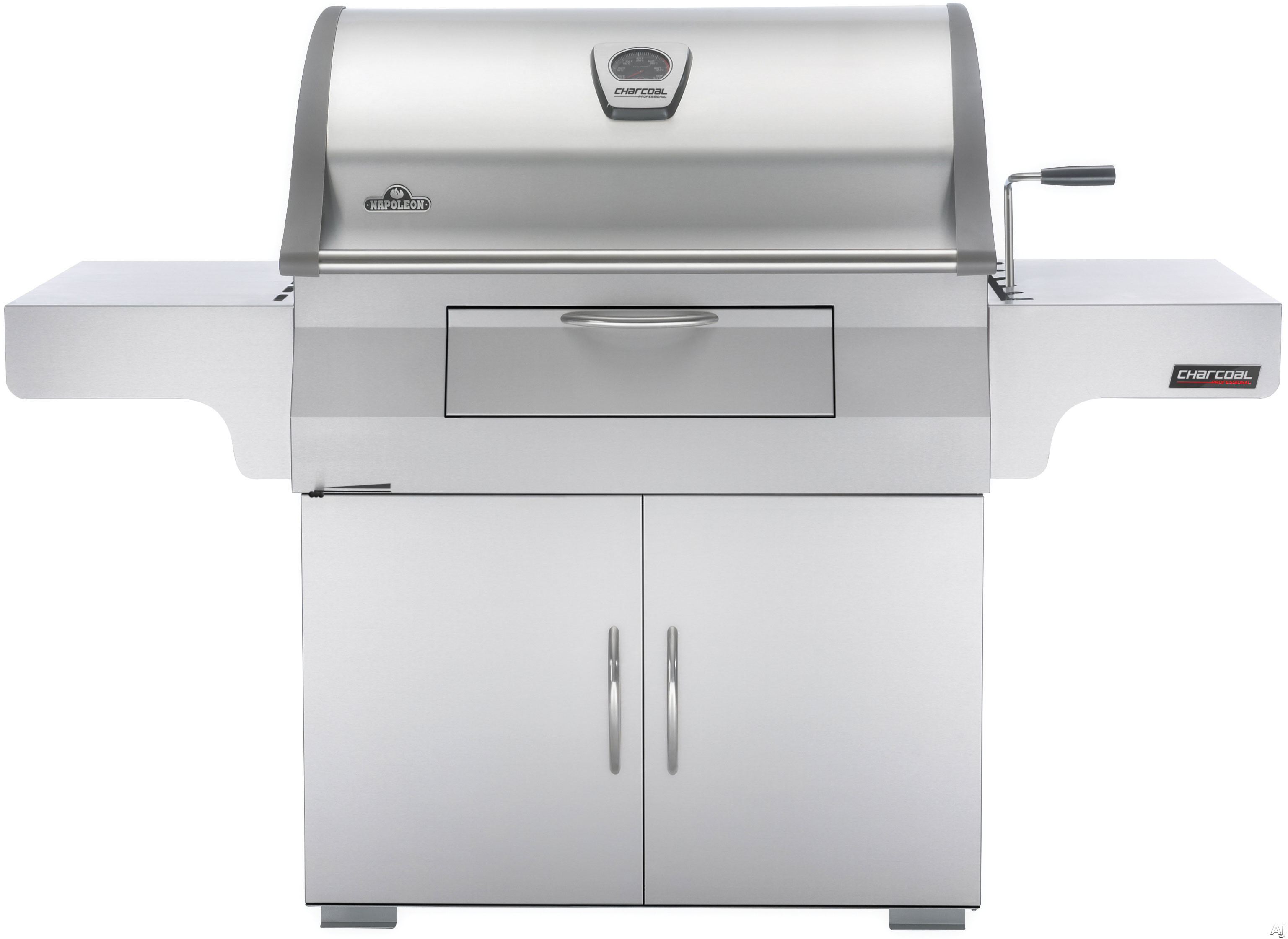 Napoleon PRO605CSS 68 Inch Freestanding Charcoal Grill with 845 sq. in. Cooking Area, Rear Charcoal Rotisserie Burner, Adjustable Charcoal Bed, Front Loading Charcoal Door and Air Vents